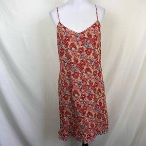 Johnny Was rose print slip dress with ruffle hem